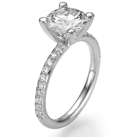 1322cafad89 18ct White Gold Four Claw Diamond Engagement ring With diamonds in Band  -FJ8216