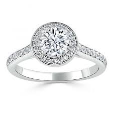 18ct white gold halo grain pave channel set engagement ring FJ5100