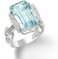 Gival 18ct Acquamarine and Diamond Dress Ring-4418/A2