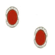 Gival 18ct Meditteranean Sea Coral and Diamond Earrings- 4736/O
