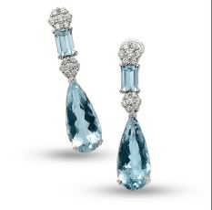 Gival 18ct Acquamarine and Diamond Drop Earrings-4741/O