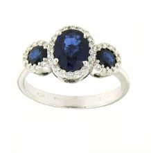 Gival 18ct Sapphire and Diamond Trilogy halo ring- 4903