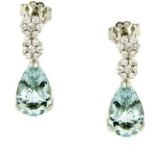 Gival 18ct Acquamarine and Diamond Drop earrings- 4911/O (BOXING DAY SALE)