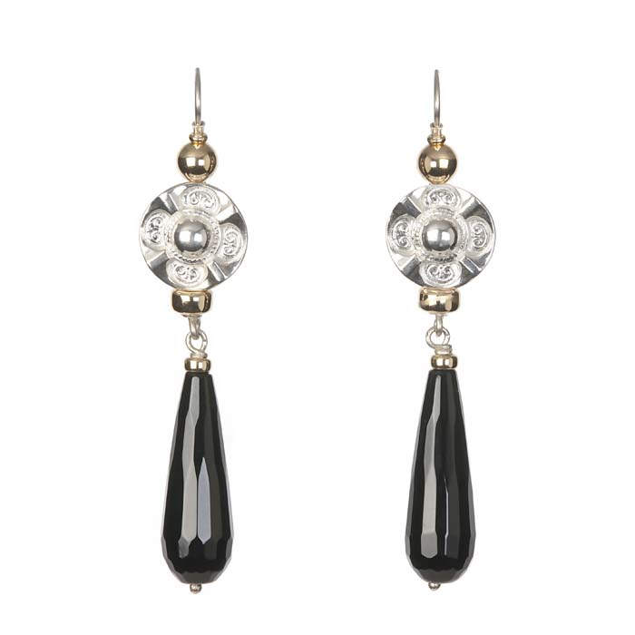 Fiorina Deco Drop Earrings-Black