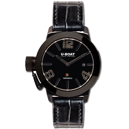 U-Boat Classico 42 Ceramic bk/bk diamonds- 7124