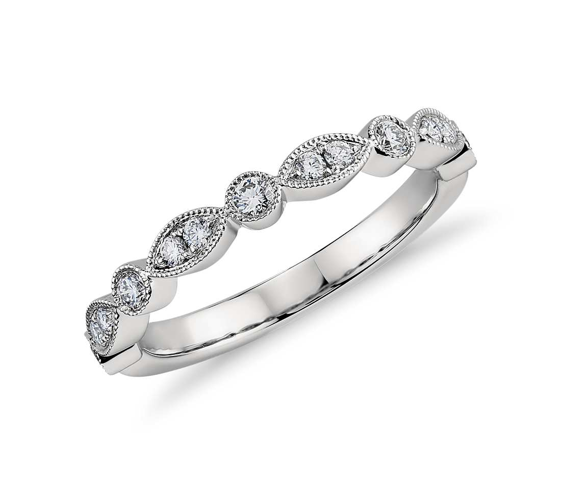 18ct White Gold Miligrain Diamond Marquise Shaped and Round Diamond Band.- FJ8000
