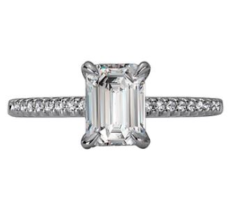 18ct White Gold Emerald Cut Solitaire with Shoulder Claw Set Diamonds- 115427-EM100 (setting and shoulder diamonds only)