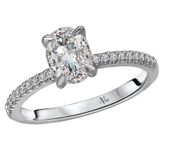 18ct White Gold Oval Solitaire with Shoulder Diamonds -115427-OV100 (setting price and shoulder diamonds only)