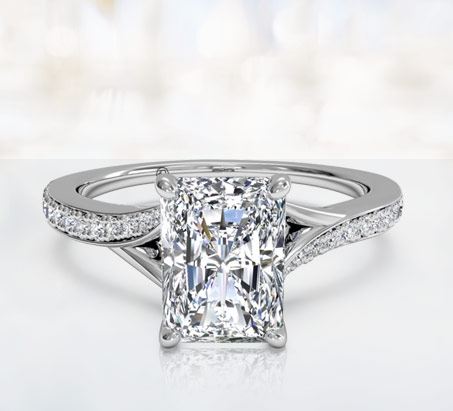 18ct White Gold Radiant Cut Diamond Engagement ring with Diamond Band- FJ4022