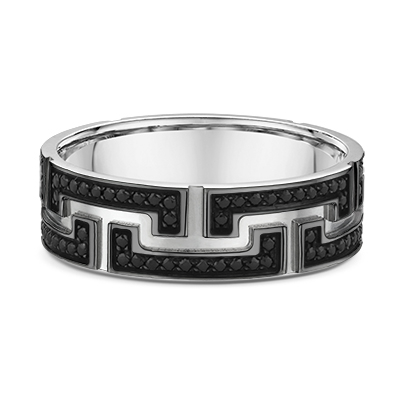 9ct White Gold Black