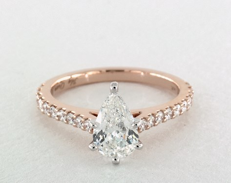 18ct Rose Gold Pear Shape Diamond Engagement Ring with Diamond Band-FJ7392