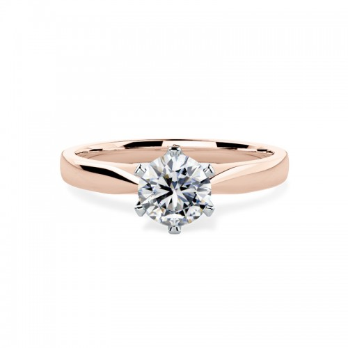 18ct Rose Gold Six Claw Solitaire with Tapered Band- FJ9418