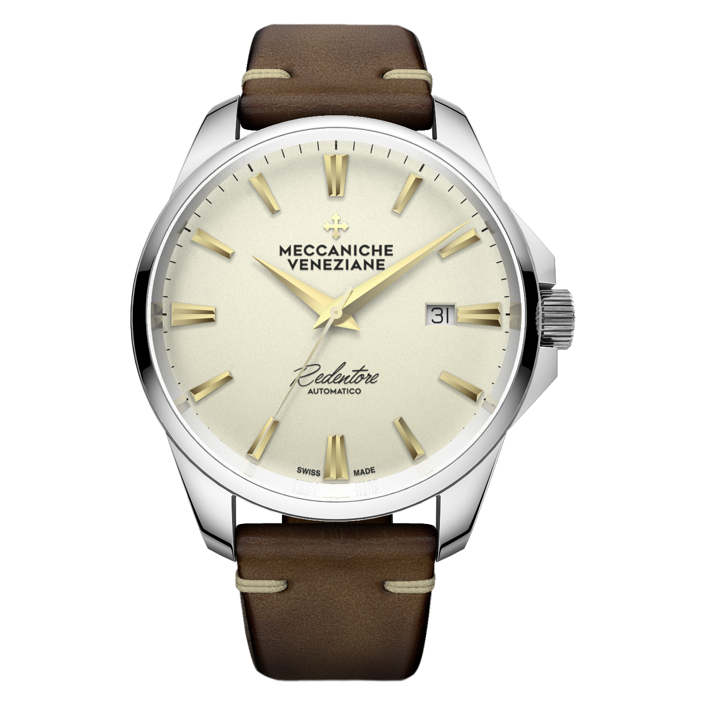 Meccaniche Veneziane creme dial gold hands Rendentore automatic on leather strap -1201006