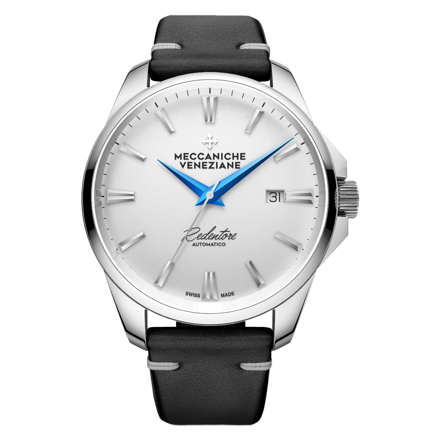 Meccaniche Veneziane white dial blue hands Rendentore automatic on leather strap -1201008