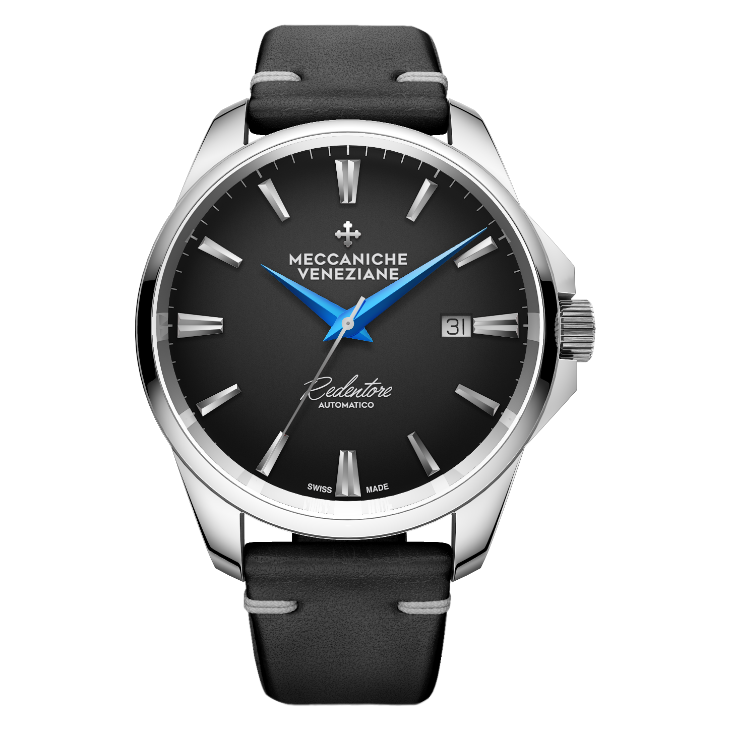 Meccaniche Veneziane black dial blue hands Rendentore automatic on leather strap -1201009