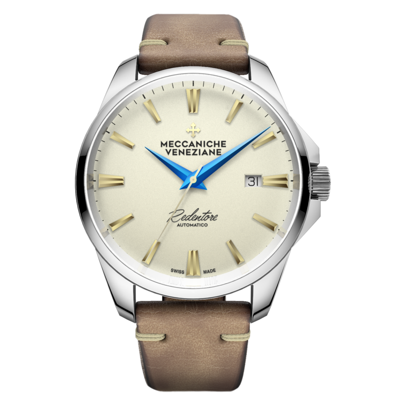 Meccaniche Veneziane creme dial blue hands Rendentore automatic on leather strap -1201010