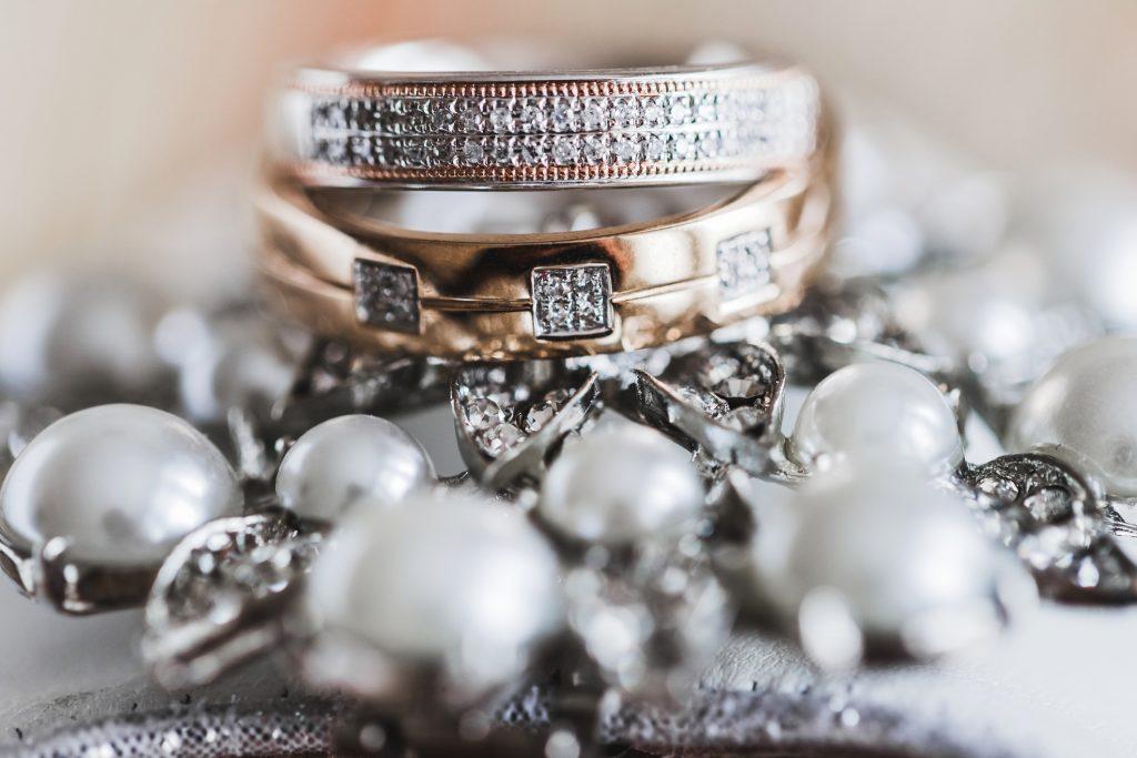 macro photo of couple wedding rings